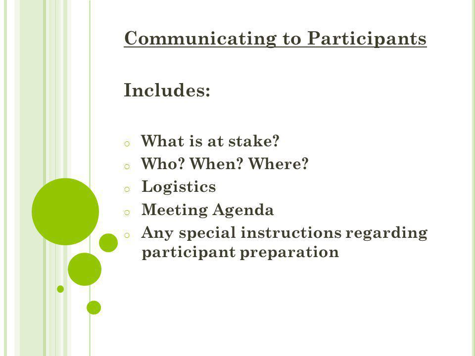 Communicating to Participants Includes: