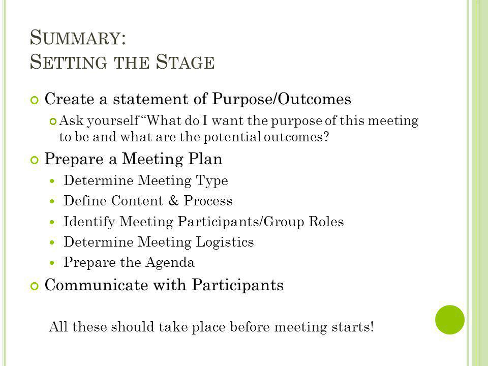 Summary: Setting the Stage