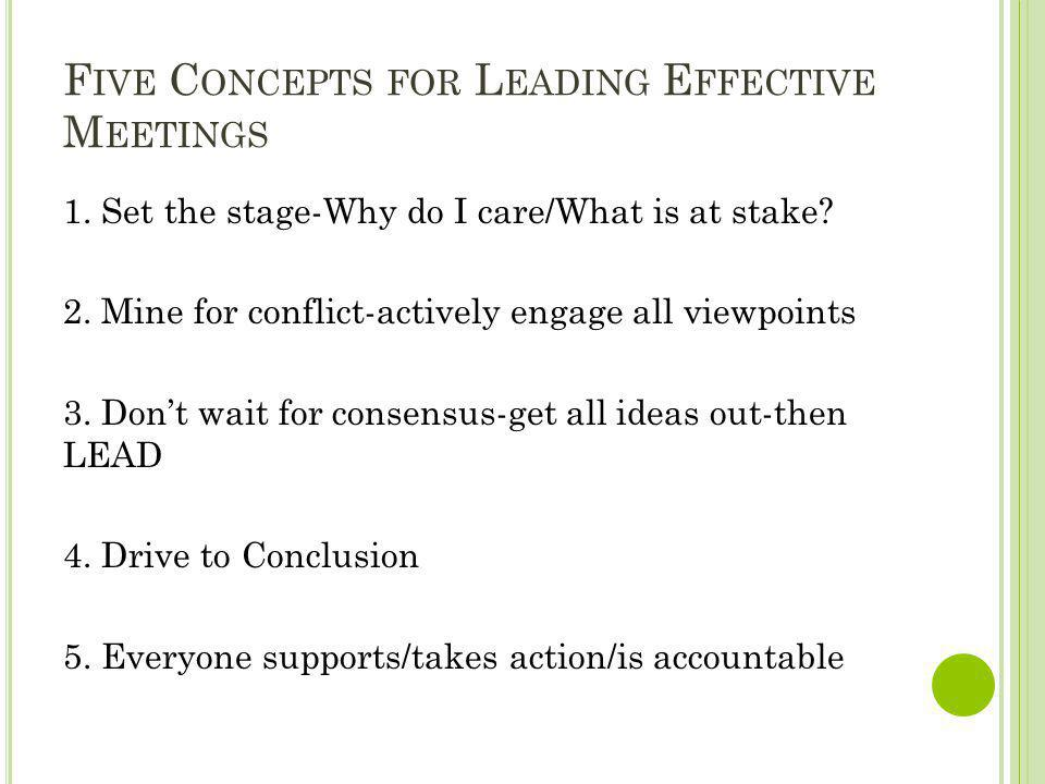 Five Concepts for Leading Effective Meetings