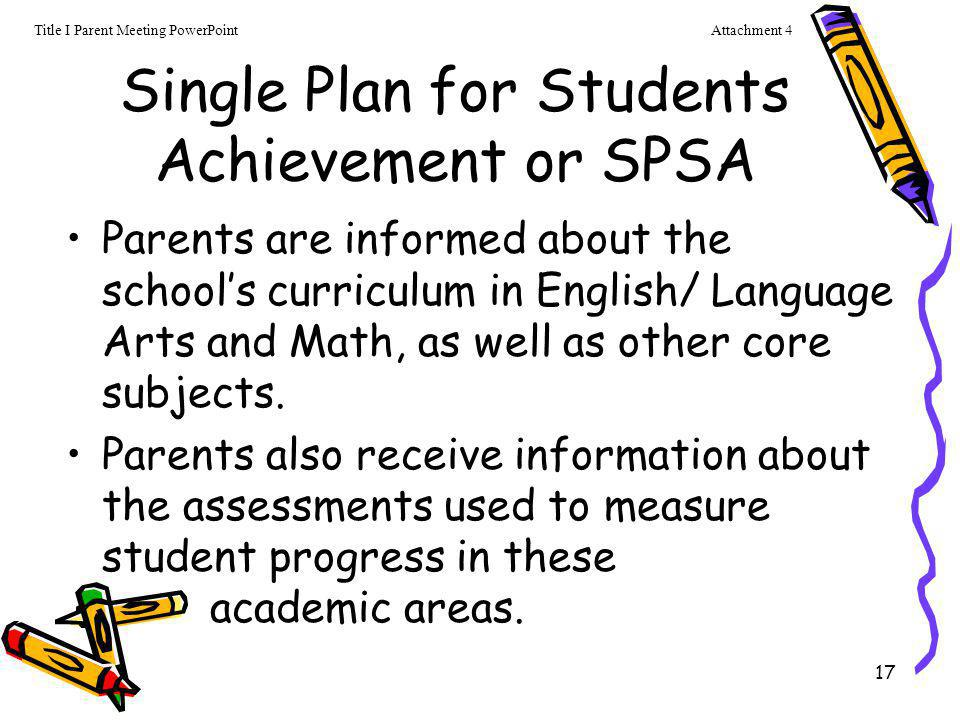 Single Plan for Students Achievement or SPSA