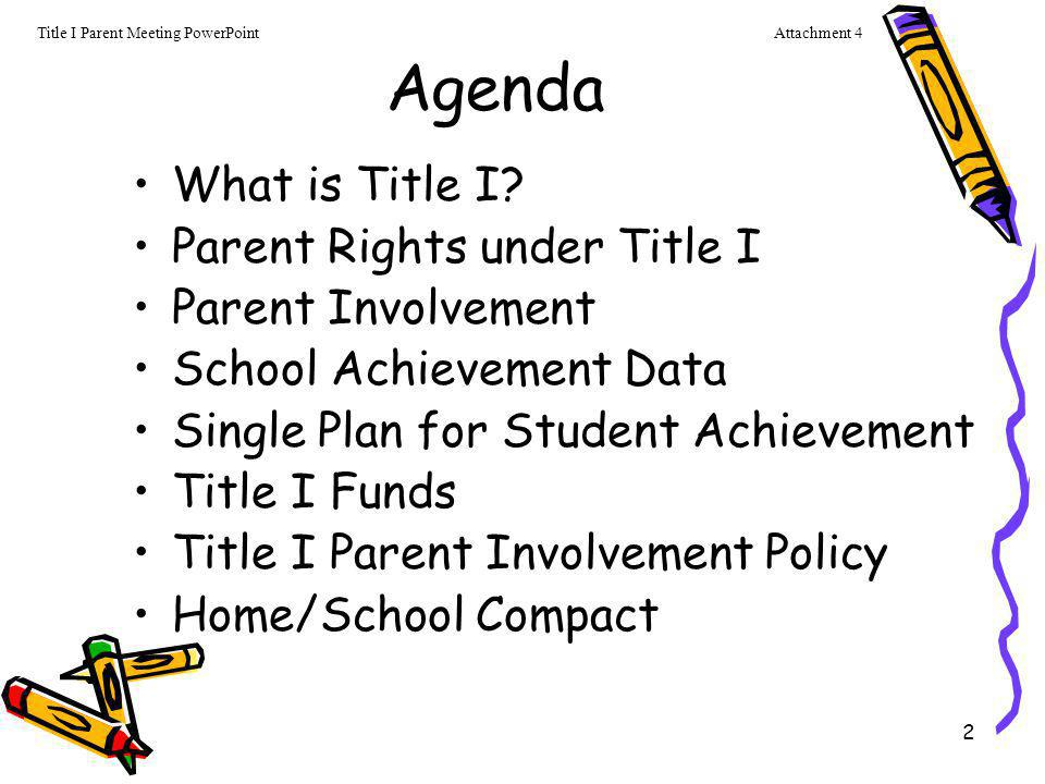 Agenda What is Title I Parent Rights under Title I Parent Involvement
