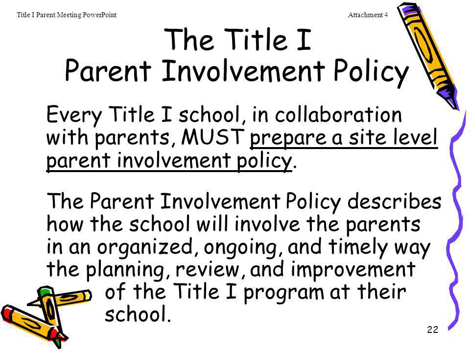 The Title I Parent Involvement Policy