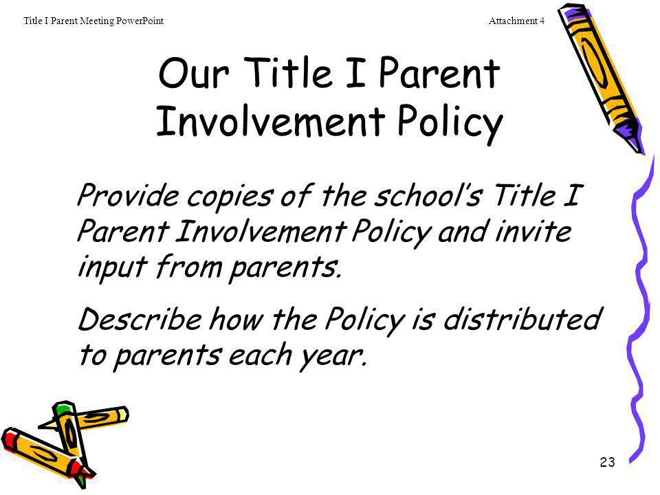 Our Title I Parent Involvement Policy