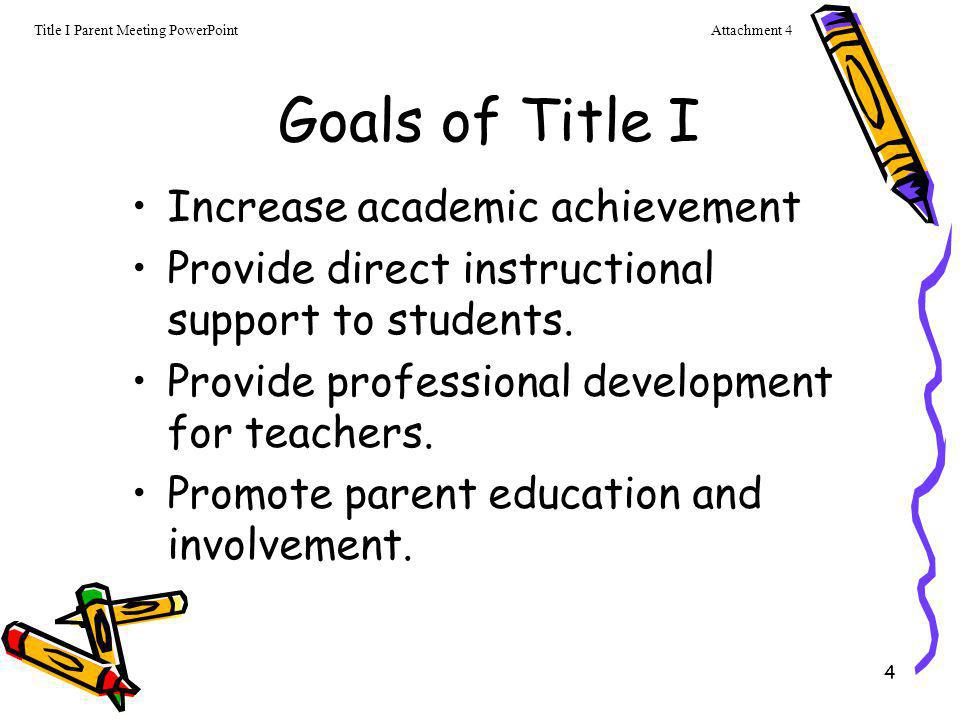 Goals of Title I Increase academic achievement