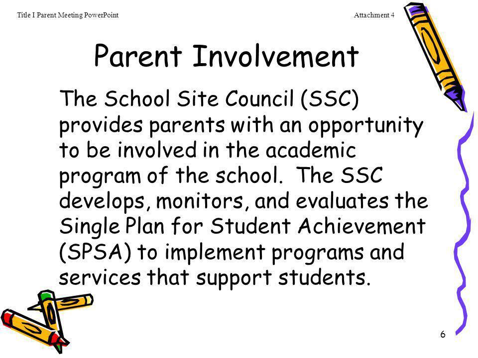 Attachment 4 Title I Parent Meeting PowerPoint. Parent Involvement.
