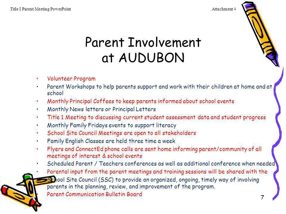 Parent Involvement at AUDUBON
