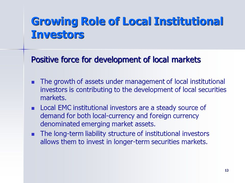 Growing Role of Local Institutional Investors