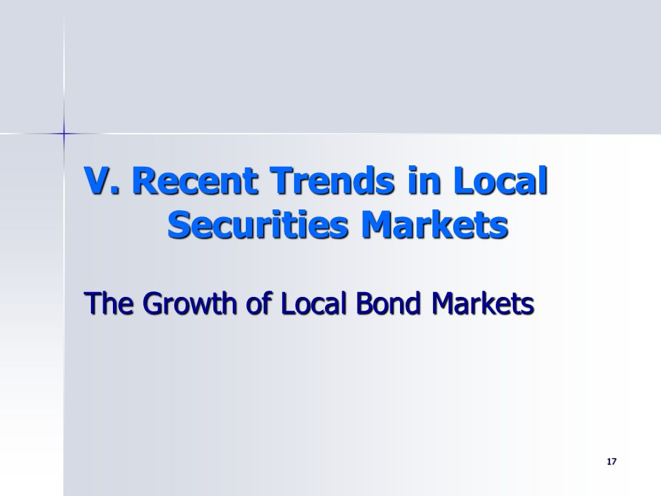 V. Recent Trends in Local Securities Markets