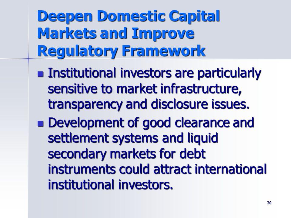 Deepen Domestic Capital Markets and Improve Regulatory Framework