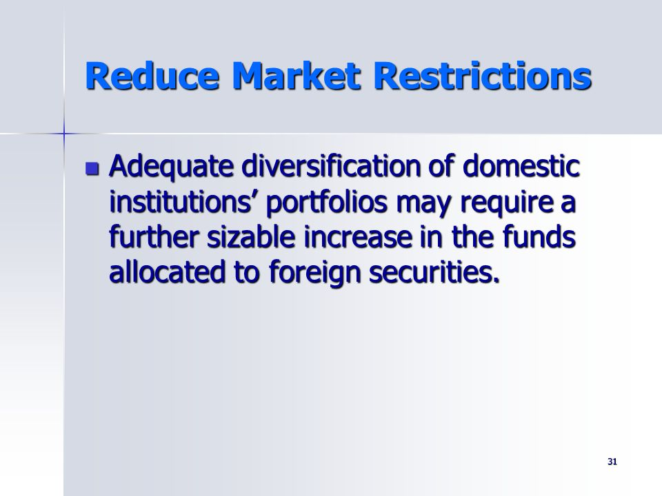 Reduce Market Restrictions