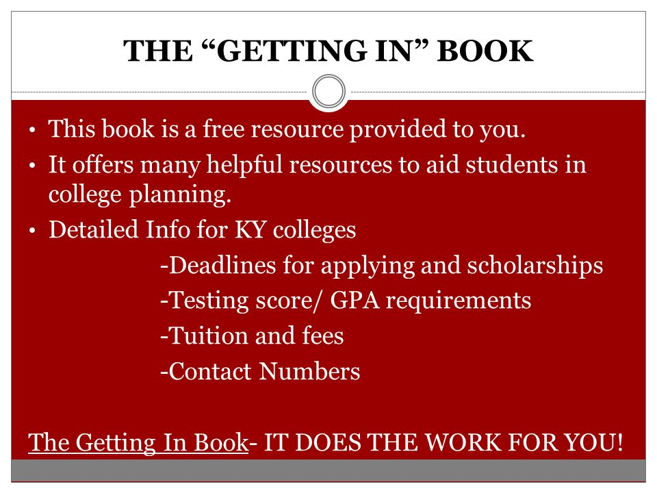 THE GETTING IN BOOK This book is a free resource provided to you.