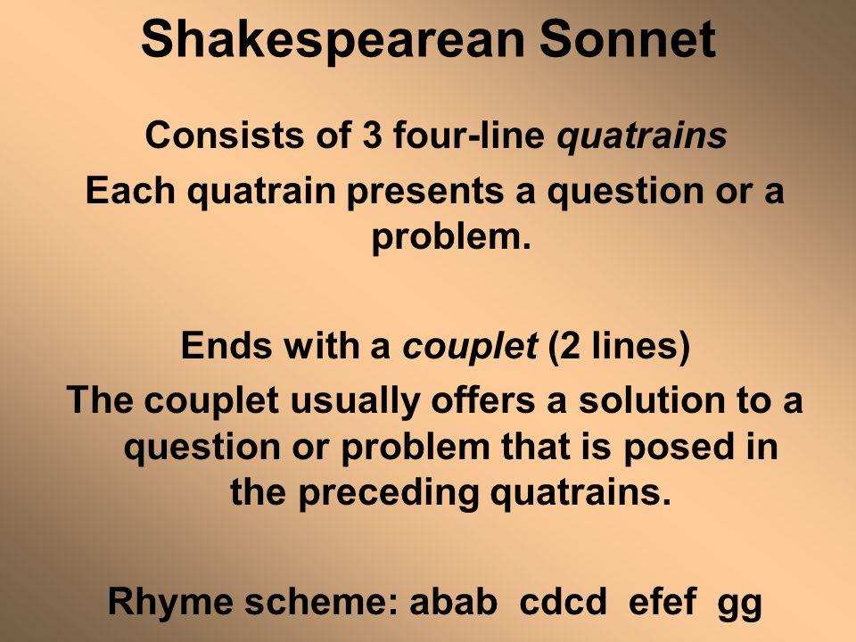 Shakespearean Sonnet Consists of 3 four-line quatrains