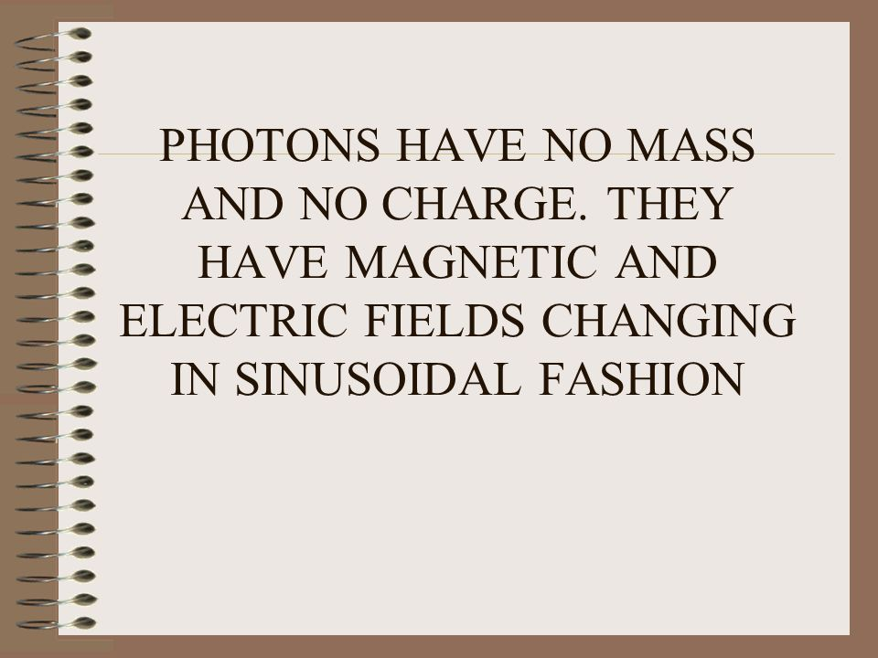PHOTONS HAVE NO MASS AND NO CHARGE