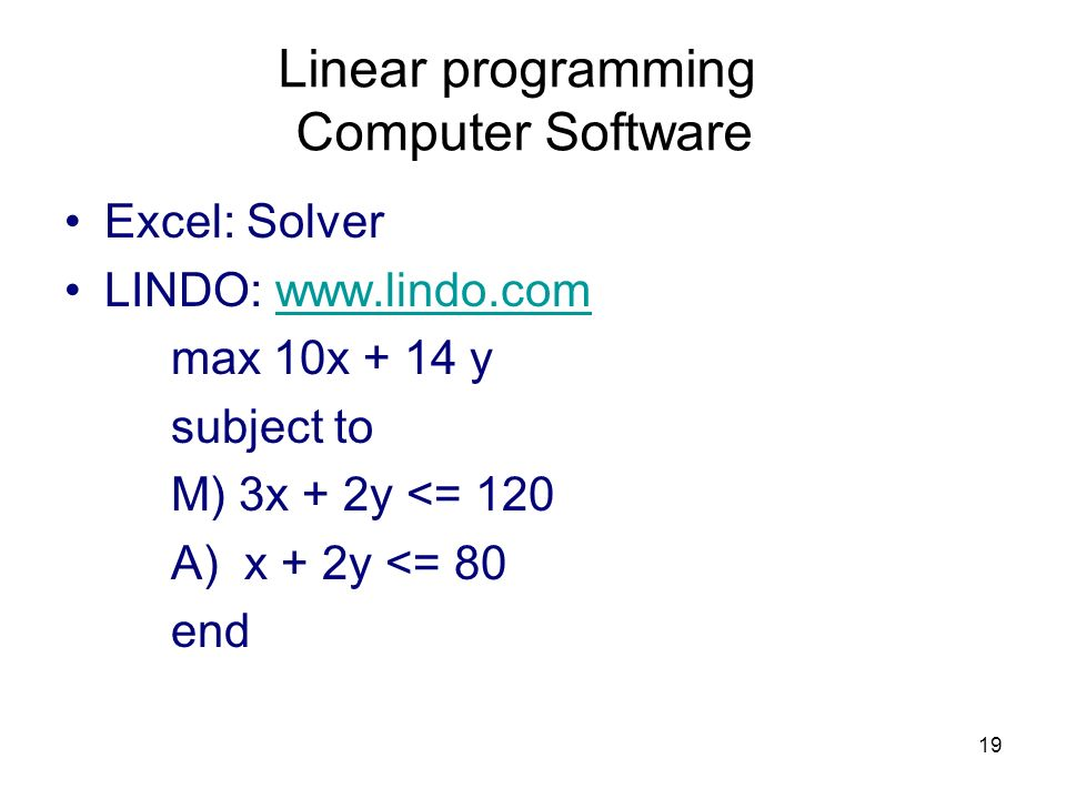 Linear programming Computer Software