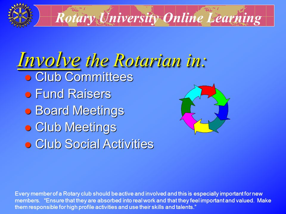 Involve the Rotarian in: