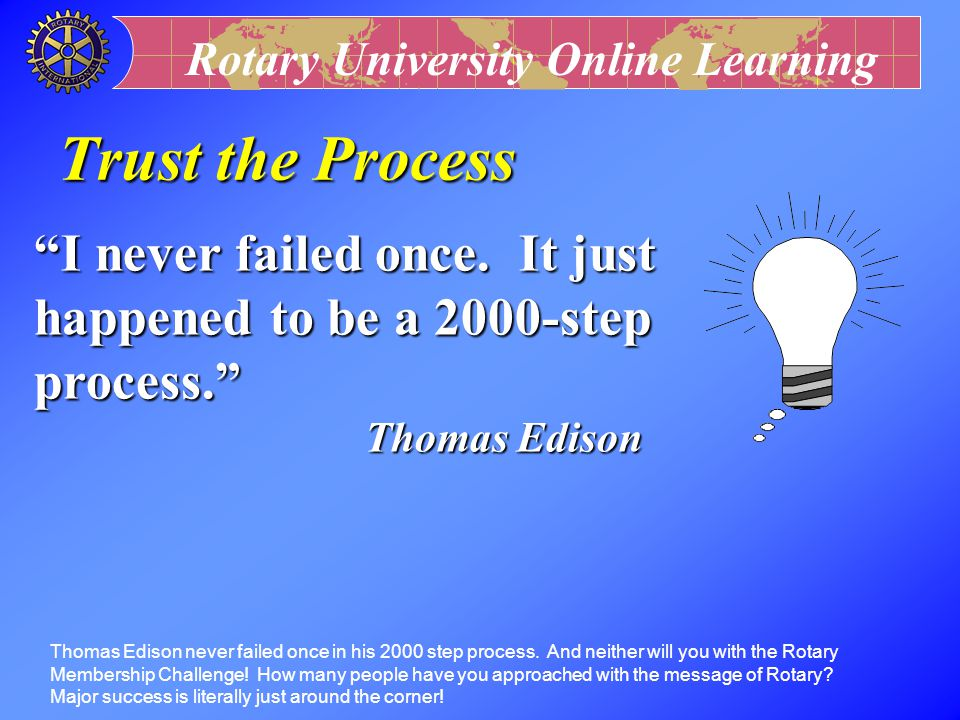 Trust the Process I never failed once. It just happened to be a 2000-step process. Thomas Edison.