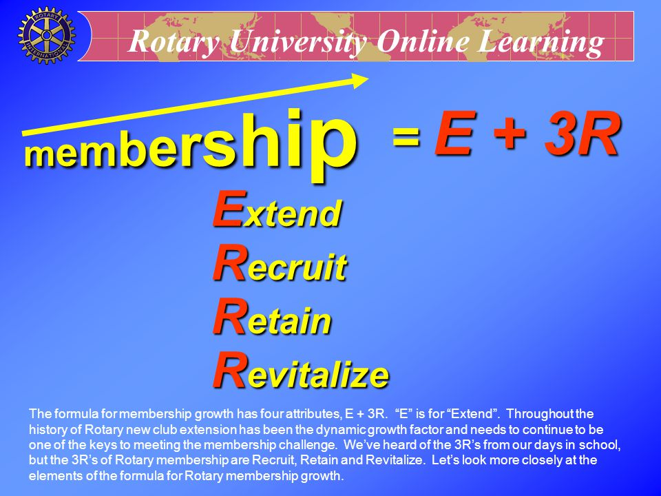 = E + 3R Extend Recruit Retain Revitalize membership