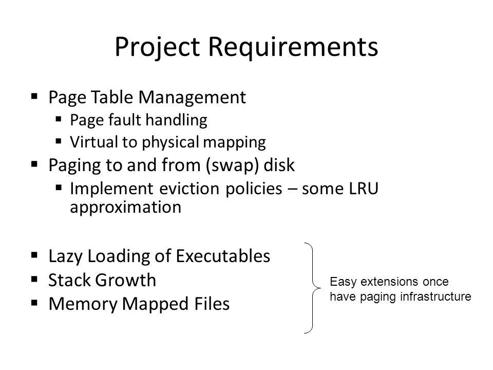 Project Requirements Page Table Management