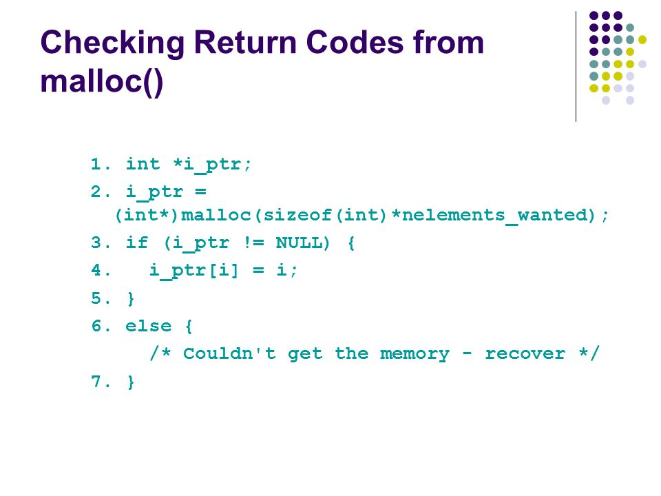 Checking Return Codes from malloc()