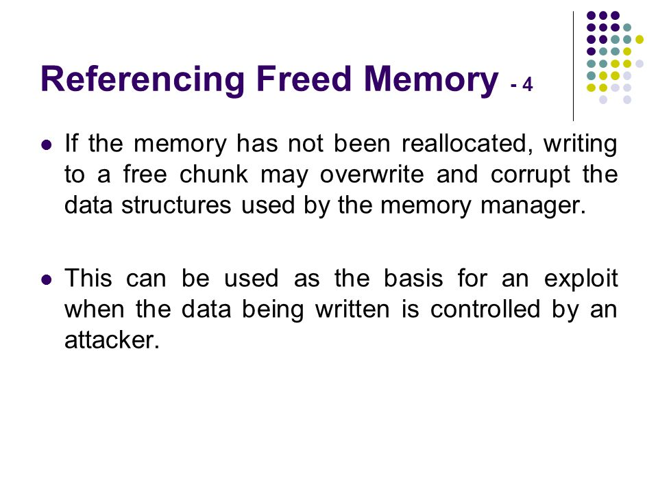 Referencing Freed Memory - 4