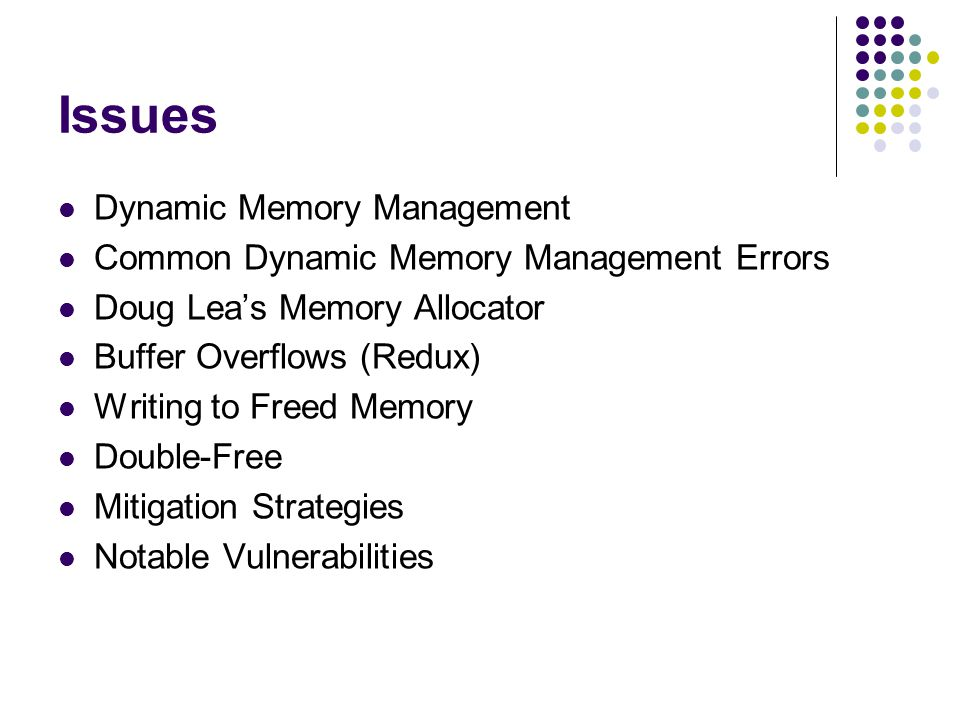 Issues Dynamic Memory Management