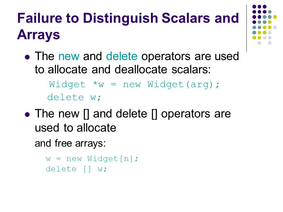 Failure to Distinguish Scalars and Arrays