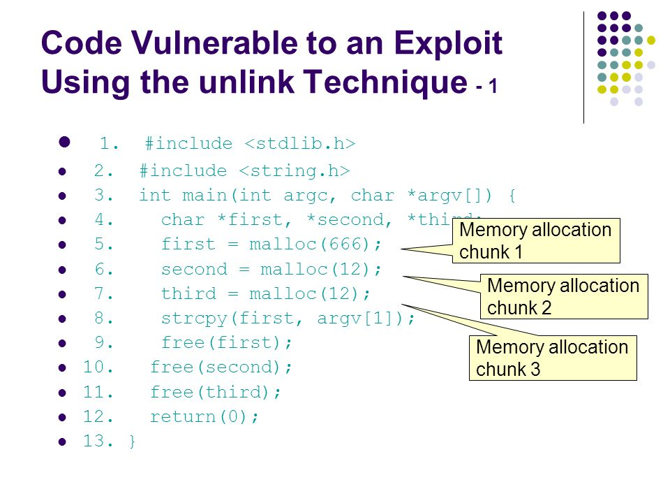 Code Vulnerable to an Exploit Using the unlink Technique - 1