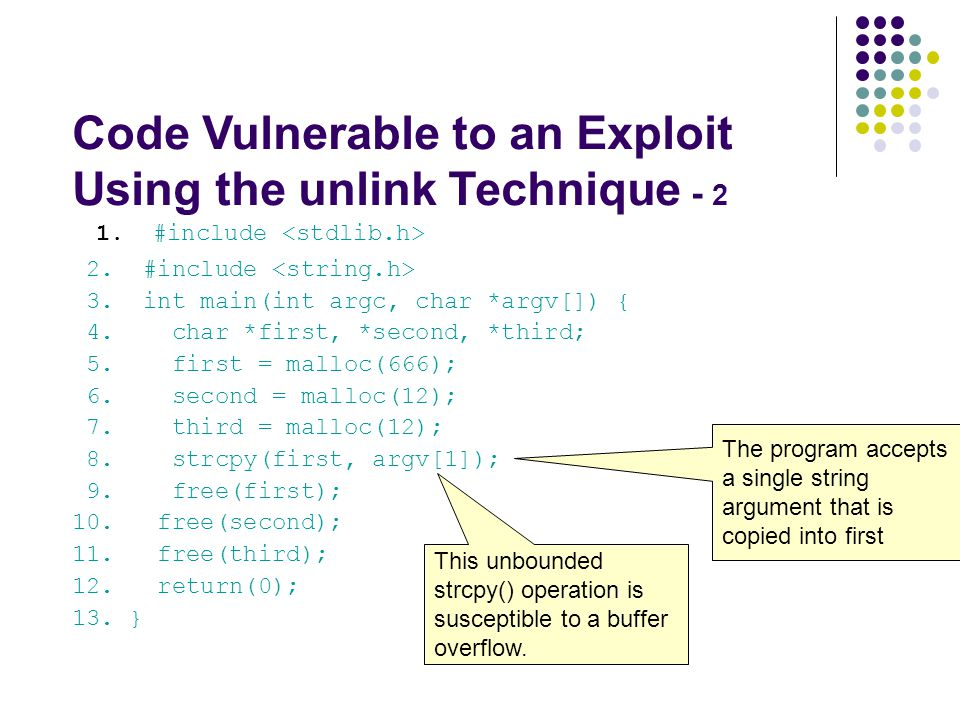 Code Vulnerable to an Exploit Using the unlink Technique - 2