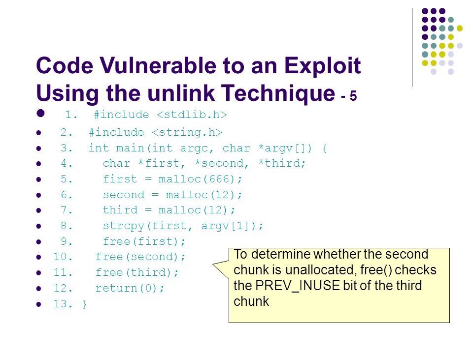 Code Vulnerable to an Exploit Using the unlink Technique - 5