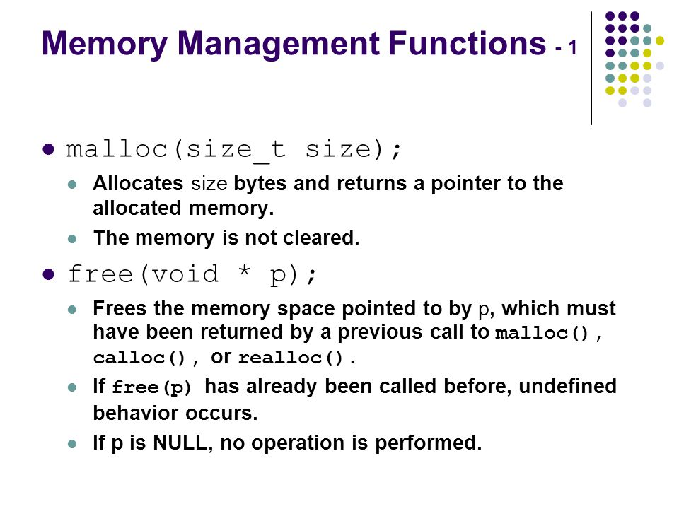 Memory Management Functions - 1