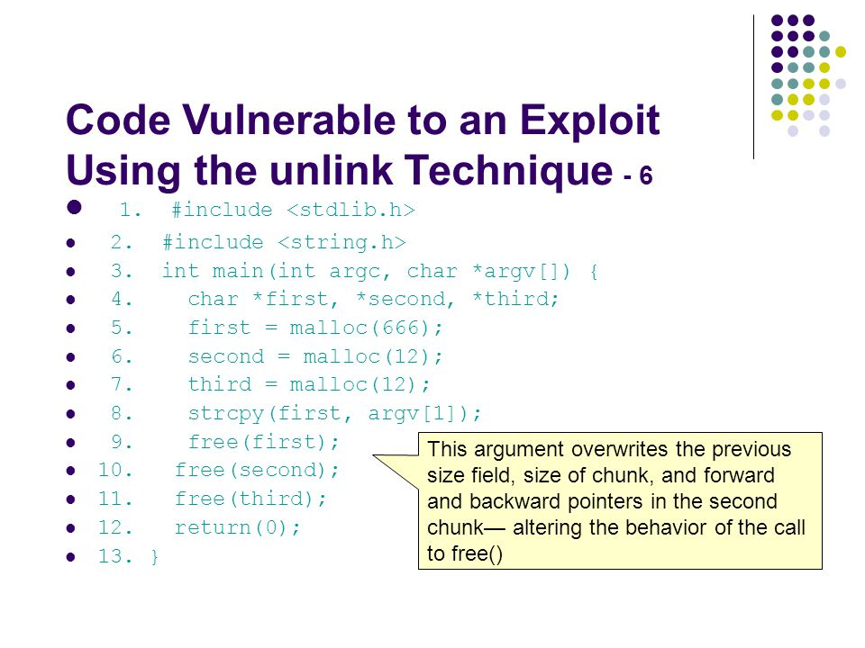 Code Vulnerable to an Exploit Using the unlink Technique - 6