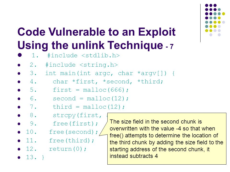 Code Vulnerable to an Exploit Using the unlink Technique - 7