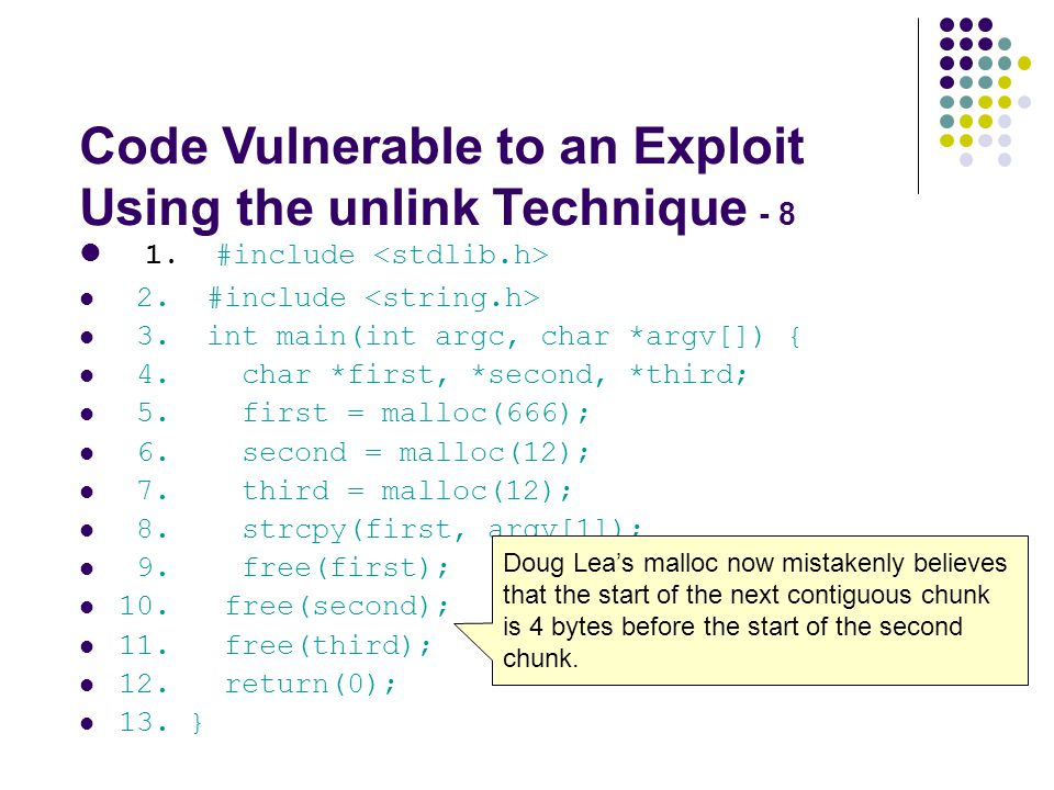 Code Vulnerable to an Exploit Using the unlink Technique - 8