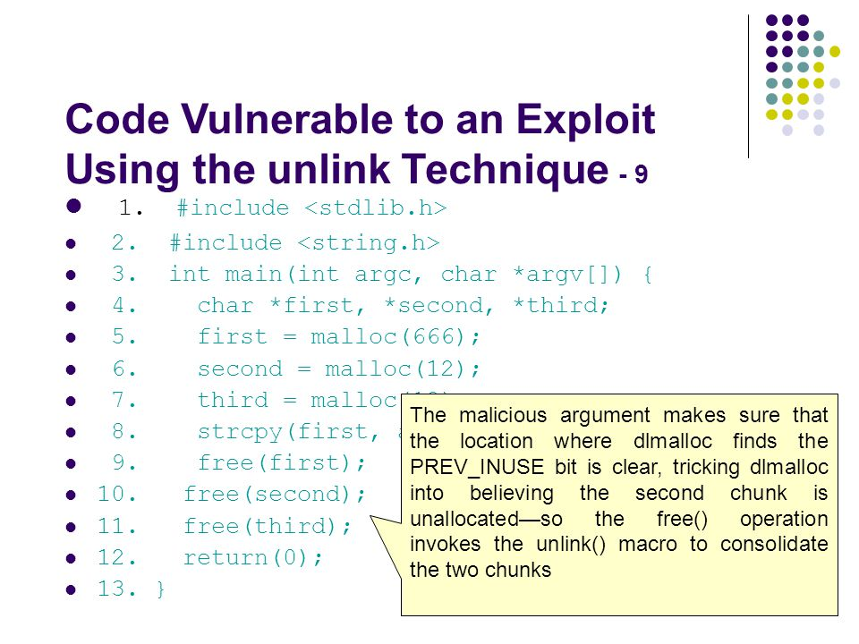 Code Vulnerable to an Exploit Using the unlink Technique - 9