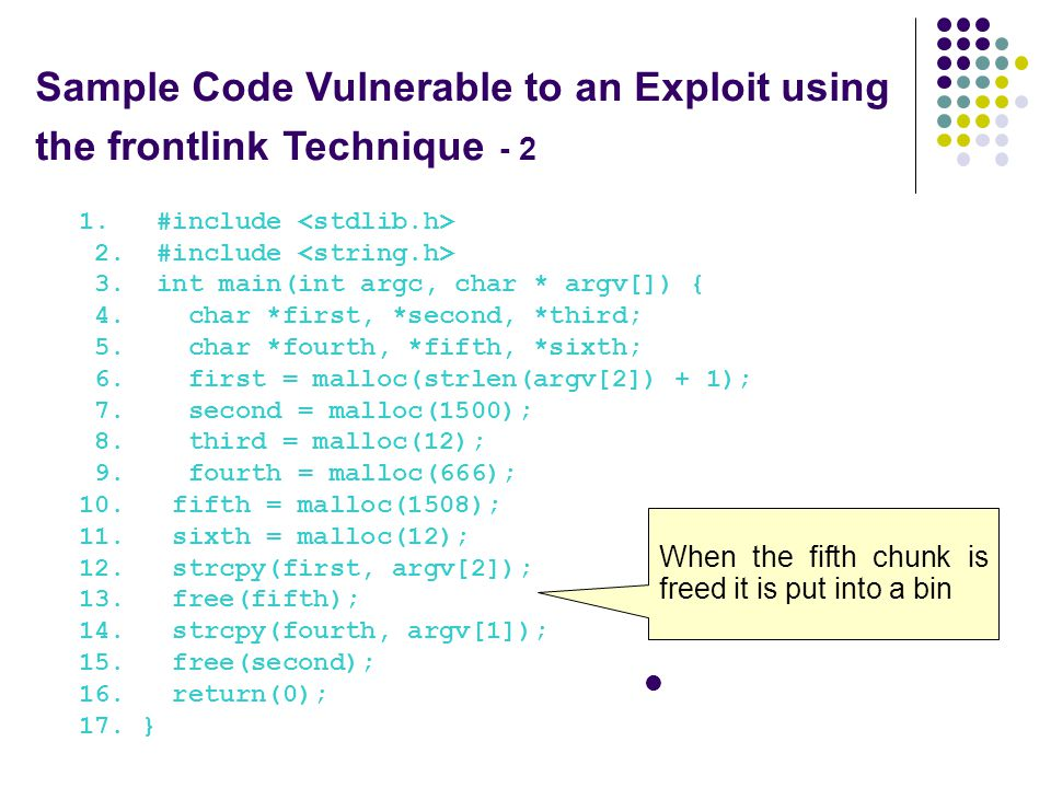 Sample Code Vulnerable to an Exploit using the frontlink Technique - 2