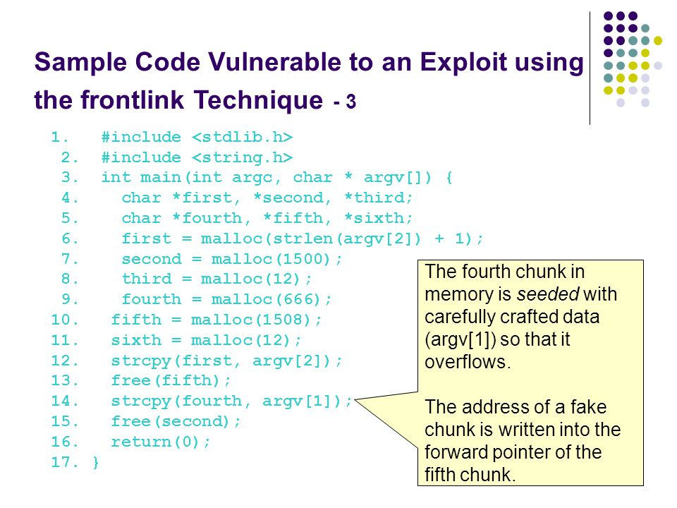 Sample Code Vulnerable to an Exploit using the frontlink Technique - 3