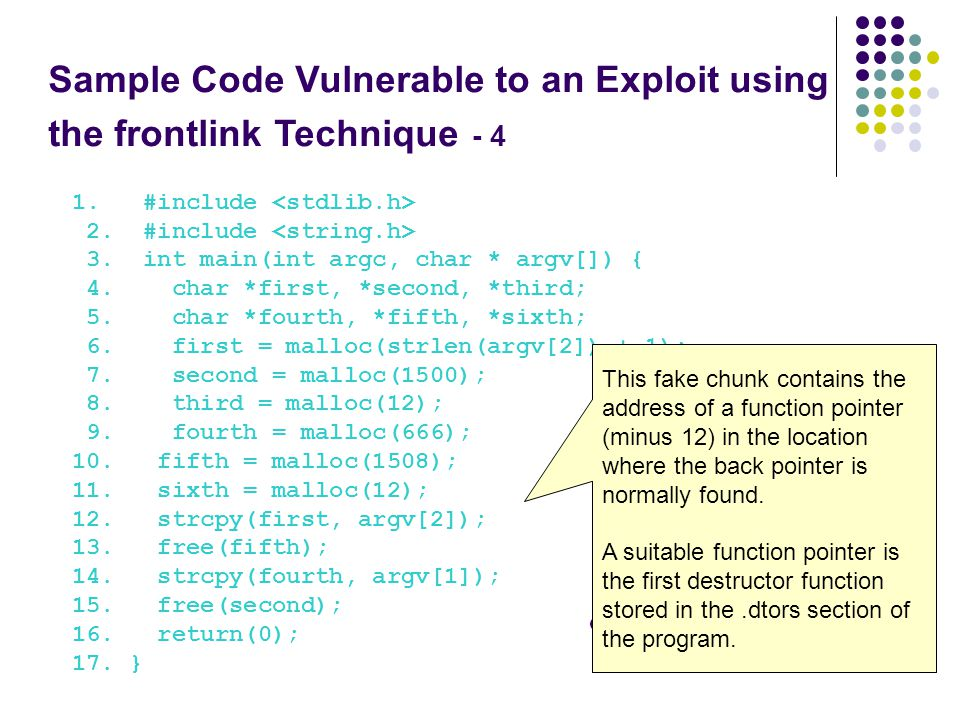 Sample Code Vulnerable to an Exploit using the frontlink Technique - 4