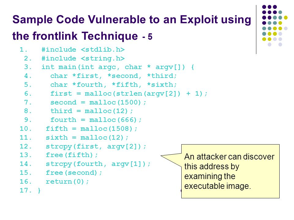 Sample Code Vulnerable to an Exploit using the frontlink Technique - 5