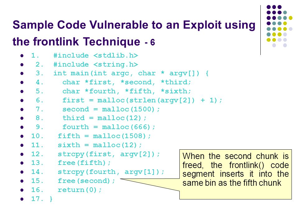Sample Code Vulnerable to an Exploit using the frontlink Technique - 6