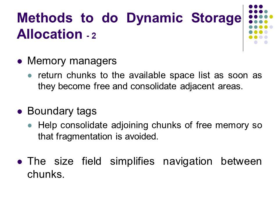 Methods to do Dynamic Storage Allocation - 2