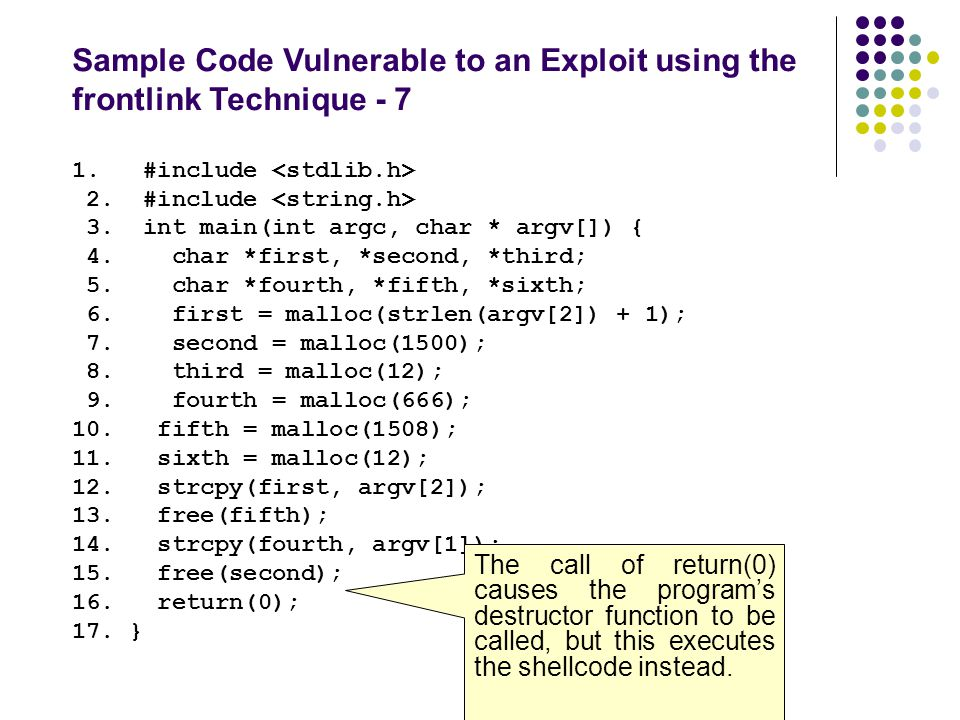 Sample Code Vulnerable to an Exploit using the frontlink Technique - 7