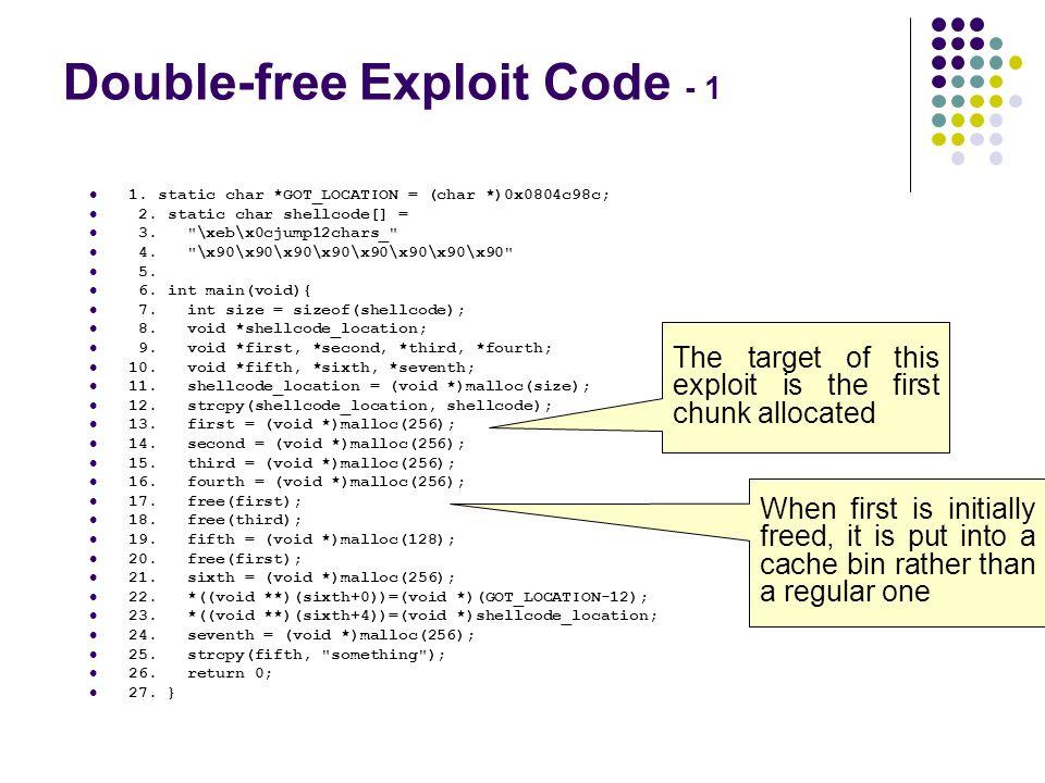 Double-free Exploit Code - 1
