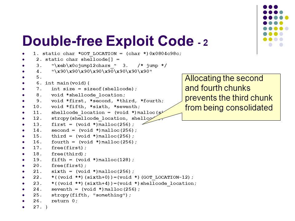 Double-free Exploit Code - 2
