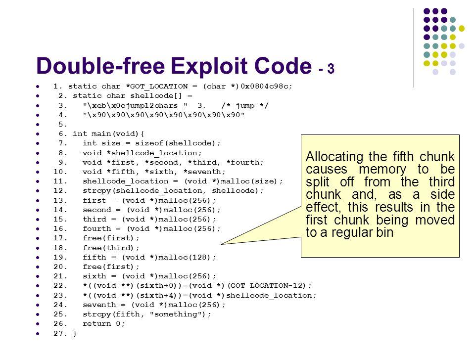 Double-free Exploit Code - 3