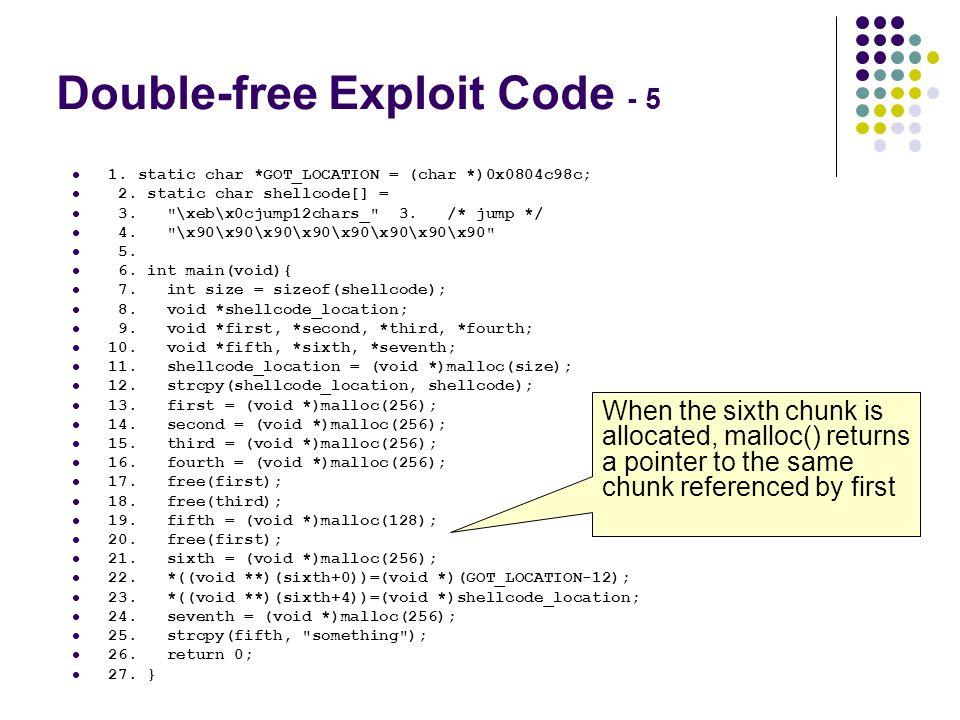 Double-free Exploit Code - 5
