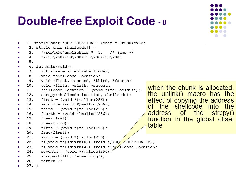 Double-free Exploit Code - 8