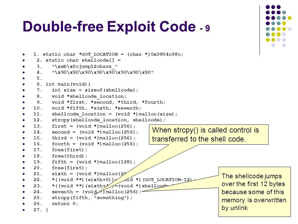 Double-free Exploit Code - 9